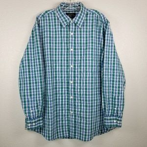 Club Room green & white plaid long sleeve shirt